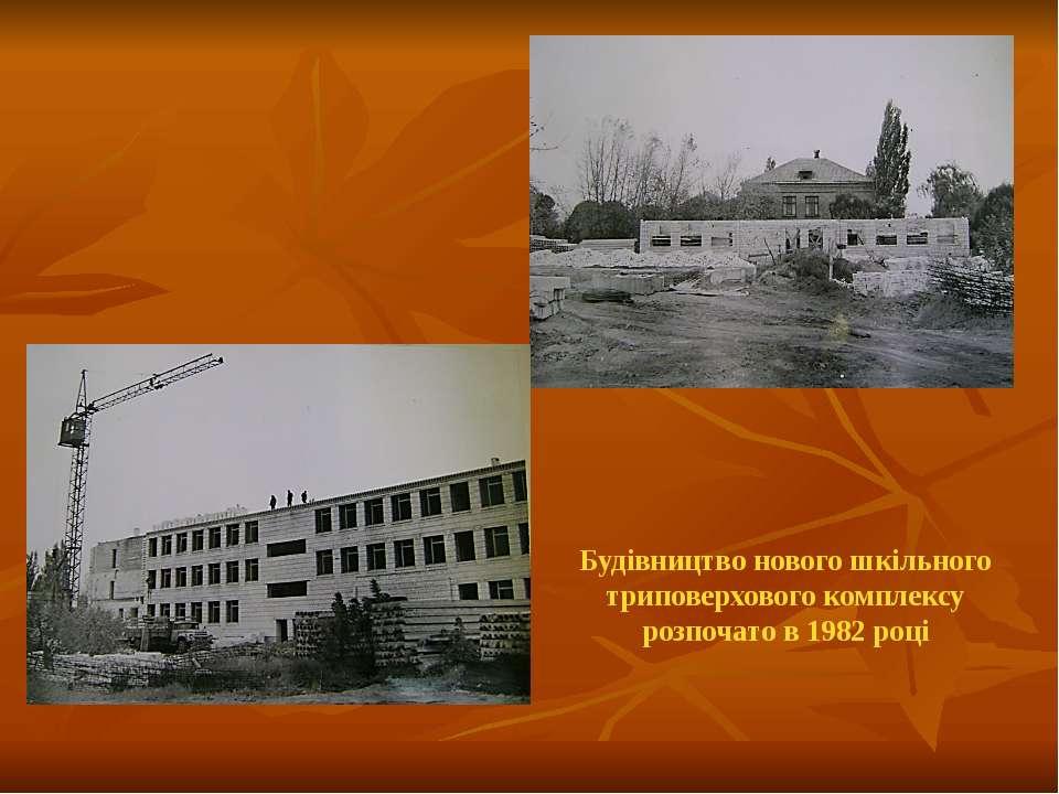 Будівництво нового шкільного триповерхового комплексу розпочато в 1982 році