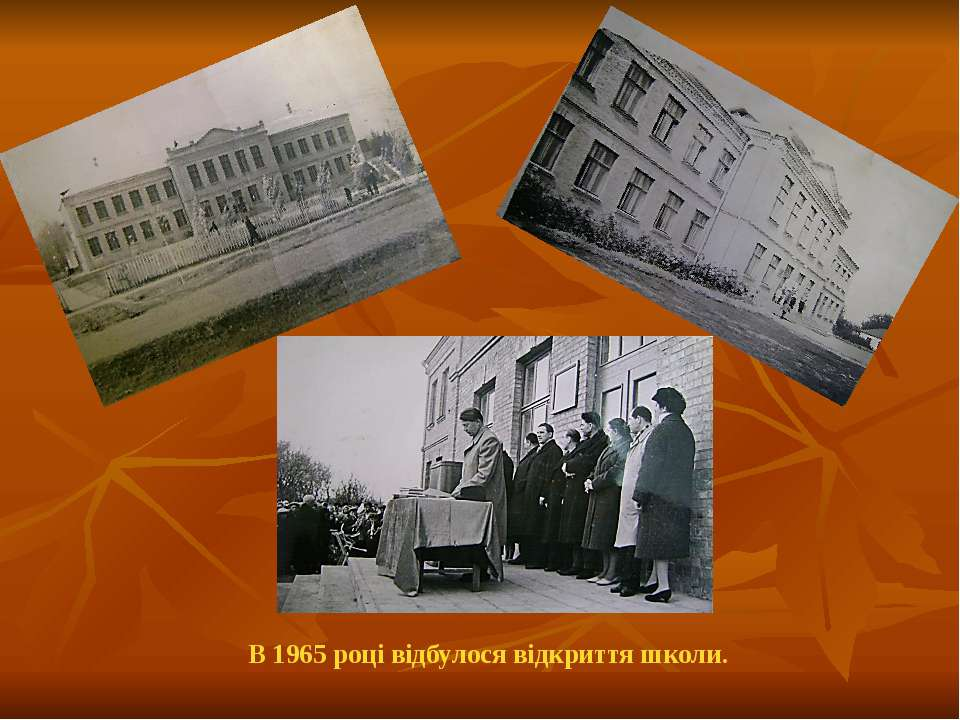 В 1965 році відбулося відкриття школи.
