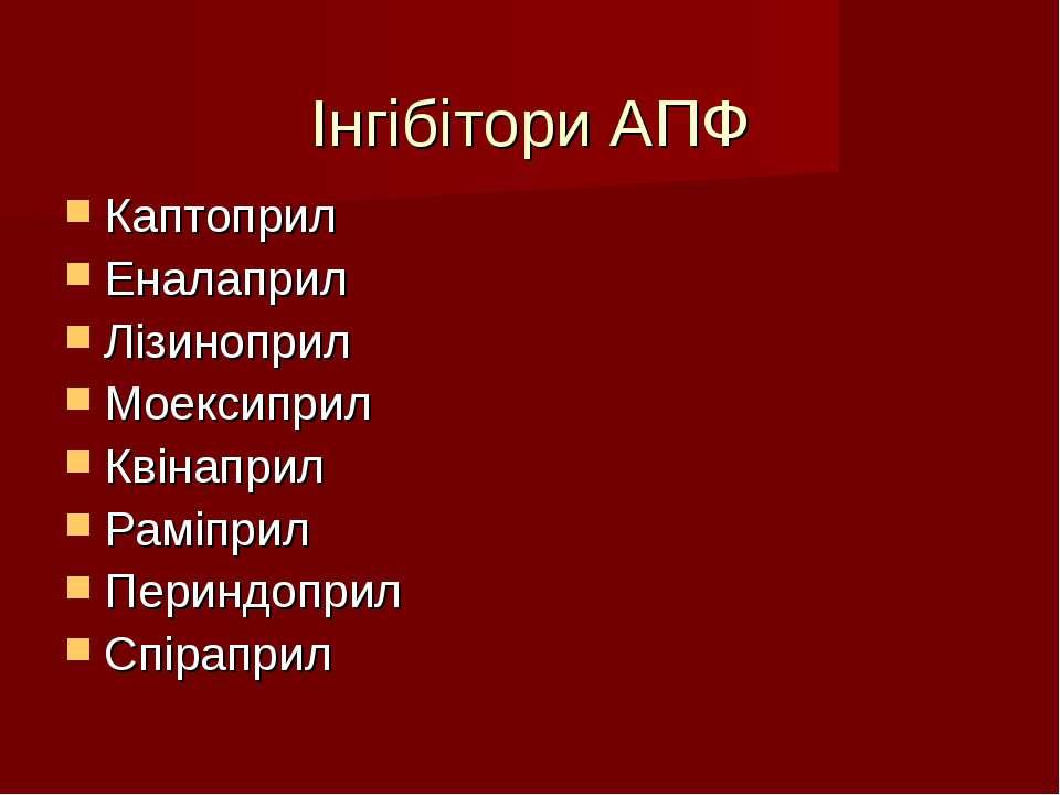 Інгібітори АПФ Каптоприл Еналаприл Лізиноприл Моексиприл Квінаприл Раміприл П...