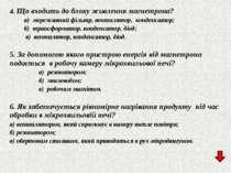 4. Що входить до блоку живлення магнетрона? а) мереживний фільтр, вентилятор,...
