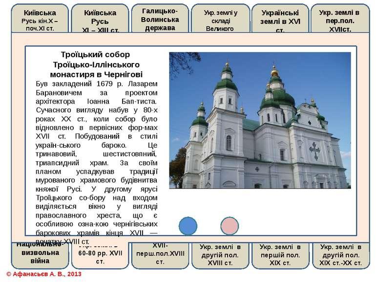 Троїцький собор Троїцько-Іллінського монастиря в ЧерніговіБув закладений 1679...