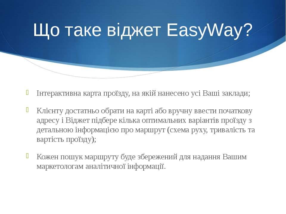 Інтерактивна карта проїзду, на якій нанесено усі Ваші заклади; Клієнту достат...