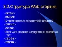 3.2.Структура Web-сторінки Тут поміщаються дескриптори заголовку Текст Web-ст...