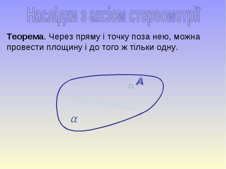 Теорема. Через пряму і точку поза нею, можна провести площину і до того ж тіл...