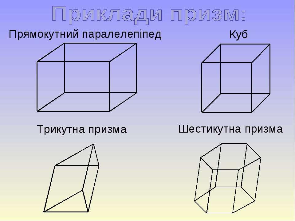 Прямокутний паралелепіпед Куб Трикутна призма Шестикутна призма