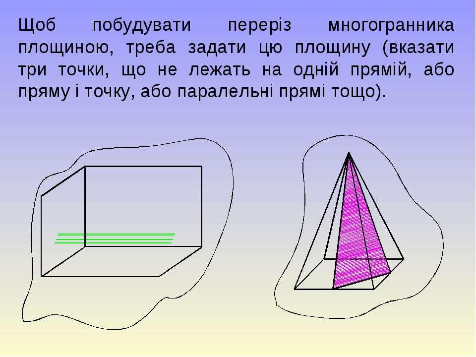 Щоб побудувати переріз многогранника площиною, треба задати цю площину (вказа...