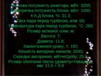 Характеристика Теплова потужність реактора, мВт: 3200; Електрична потужність ...