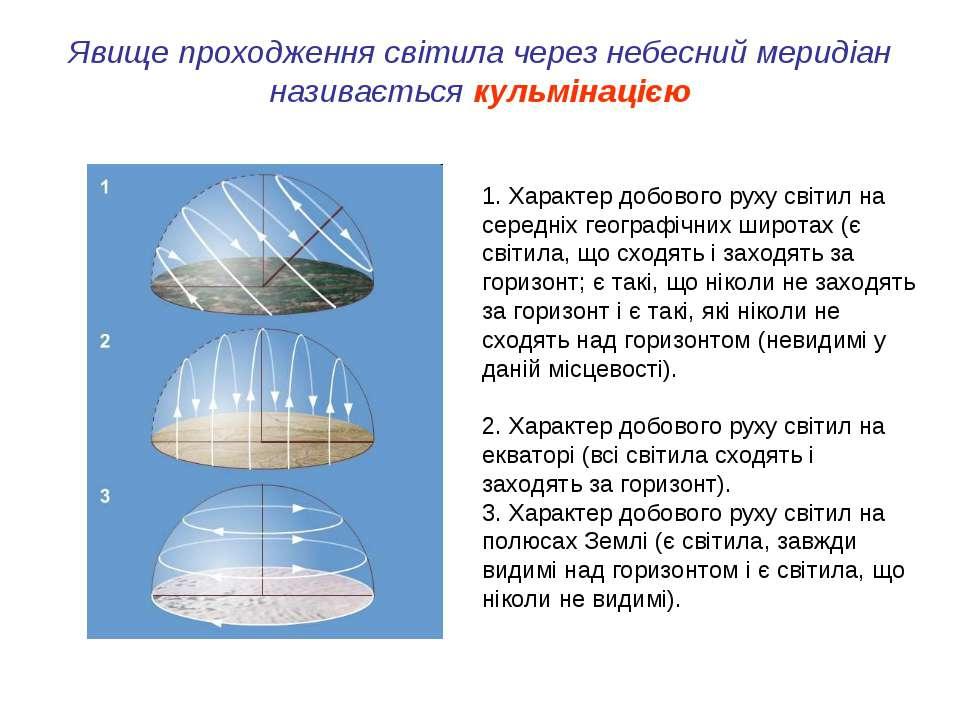 Явище проходження світила через небесний меридіан називається кульмінацією 1....