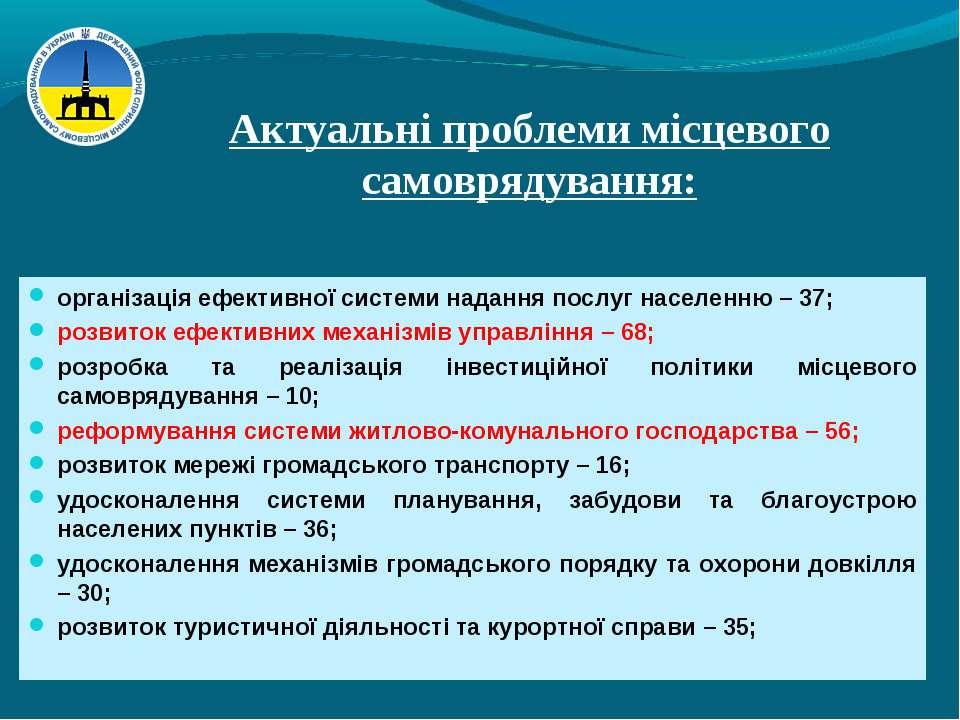 Актуальні проблеми місцевого самоврядування: організація ефективної системи н...