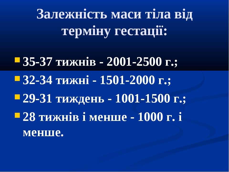 Залежність маси тіла від терміну гестації: 35-37 тижнів - 2001-2500 г.; 32-34...