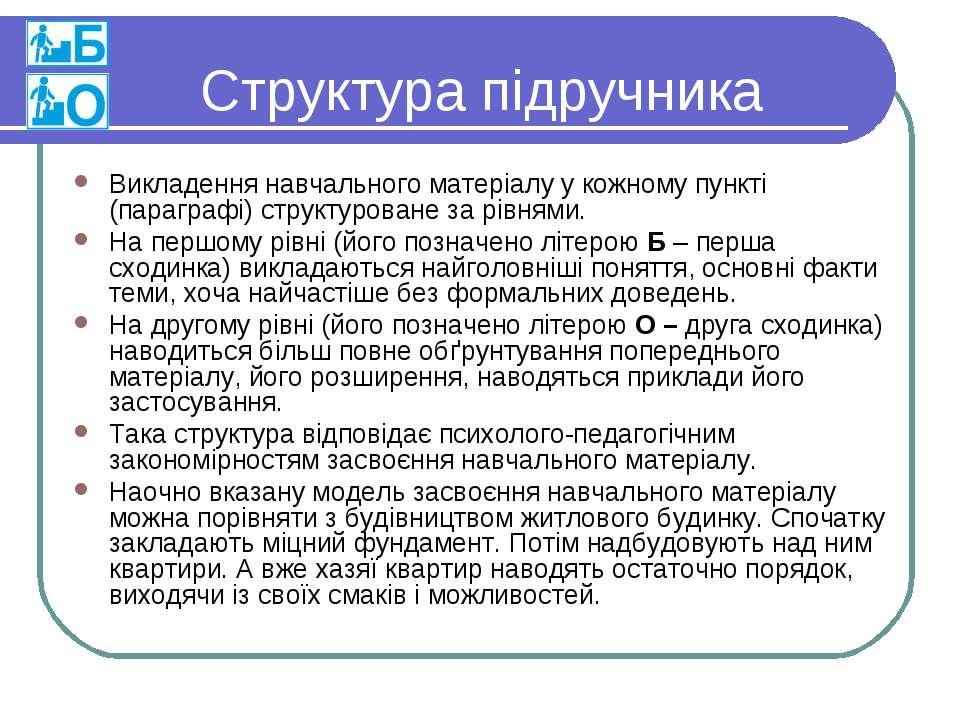 Структура підручника Викладення навчального матеріалу у кожному пункті (параг...