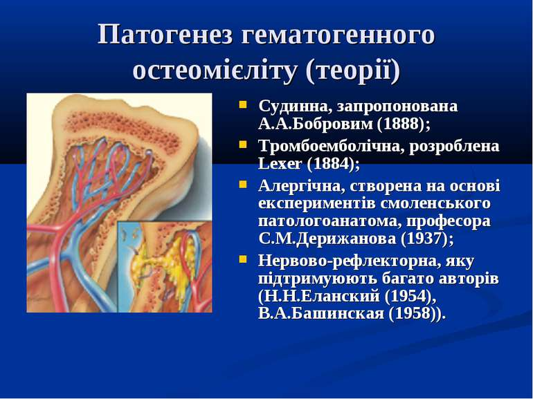 Патогенез гематогенного остеомієліту (теорії) Судинна, запропонована А.А.Бобр...