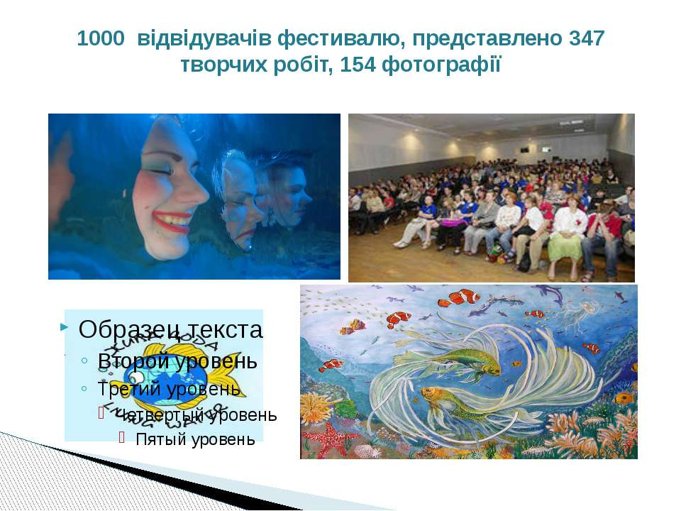 1000 відвідувачів фестивалю, представлено 347 творчих робіт, 154 фотографії