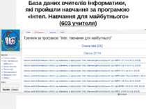 Лабораторія інформатики, 2012 База даних вчителів інформатики, які пройшли на...
