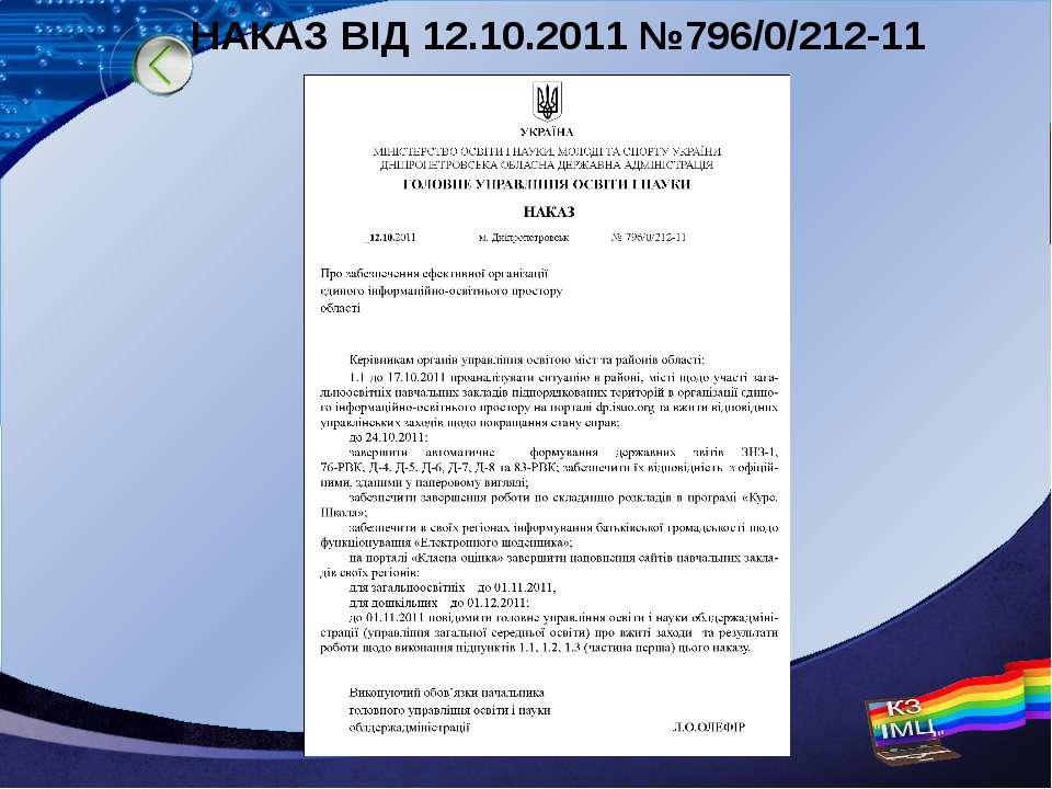 НАКАЗ ВІД 12.10.2011 №796/0/212-11 LOGO