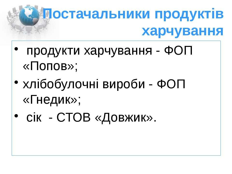 Постачальники продуктів харчування продукти харчування - ФОП «Попов»; хлібобу...