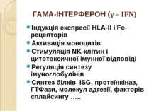 ГАМА-ІНТЕРФЕРОН (γ – IFN) Індукція експресії HLA-II і Fc-рецепторів Активація...