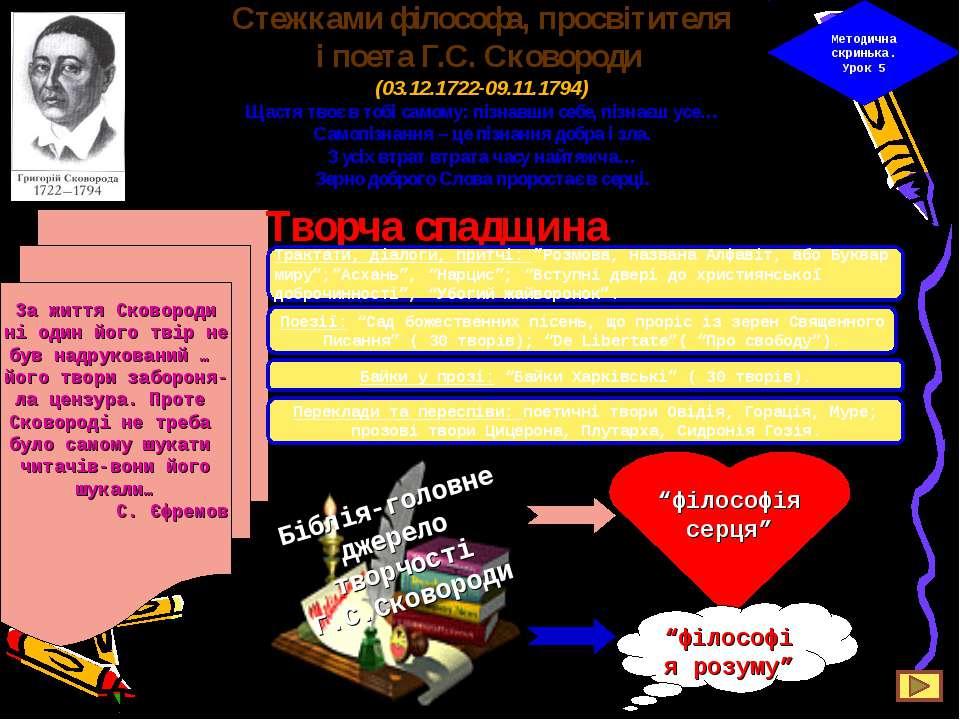 Стежками філософа, просвітителя і поета Г.С. Сковороди (03.12.1722-09.11.1794...