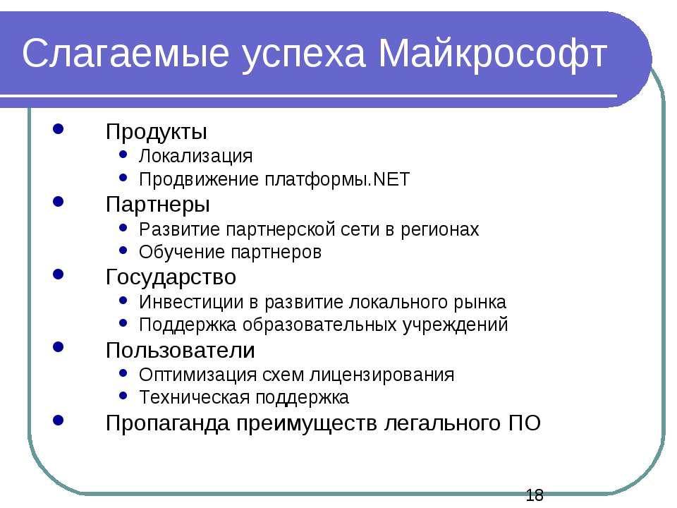 Слагаемые успеха Майкрософт Продукты Локализация Продвижение платформы.NET Па...