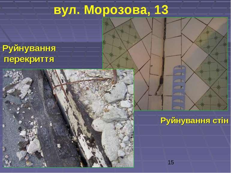 вул. Морозова, 13 Руйнування стін Руйнування перекриття