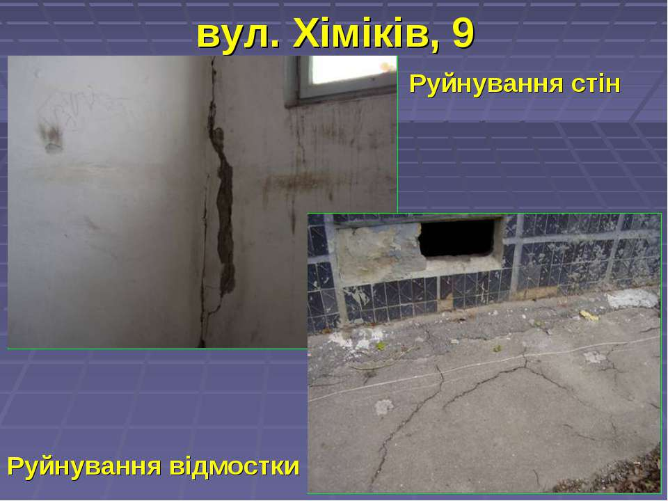 вул. Хіміків, 9 Руйнування стін Руйнування відмостки