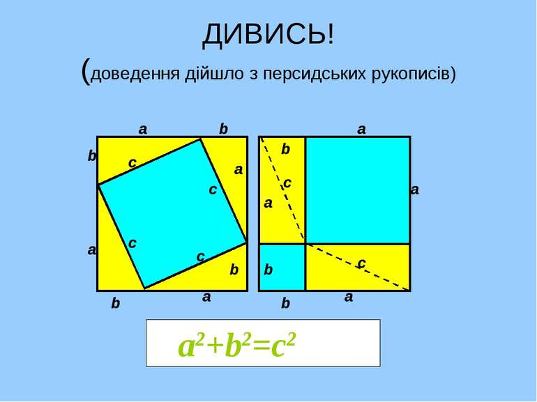 ДИВИСЬ! (доведення дійшло з персидських рукописів) а2+b2=с2