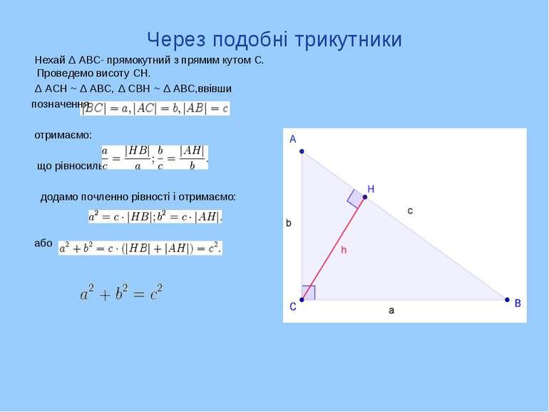 Через подобні трикутники Нехай Δ АВС- прямокутний з прямим кутом С. Проведемо...