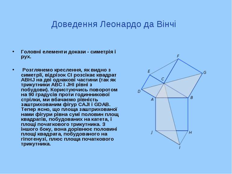 Доведення Леонардо да Вінчі Головні елементи докази - симетрія і рух. Розглян...