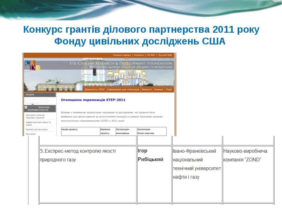 Конкурс грантів ділового партнерства 2011 року Фонду цивільних досліджень США