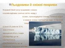 Льодовики й сніжні покриви Яскравий білий колір льодовиків і сніжних покривів...