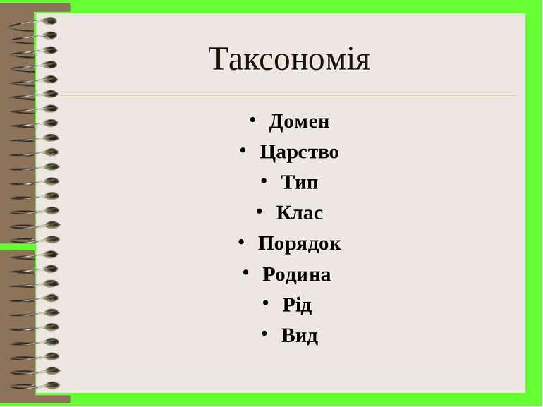 Таксономія Домен Царство Тип Клас Порядок Родина Рід Вид