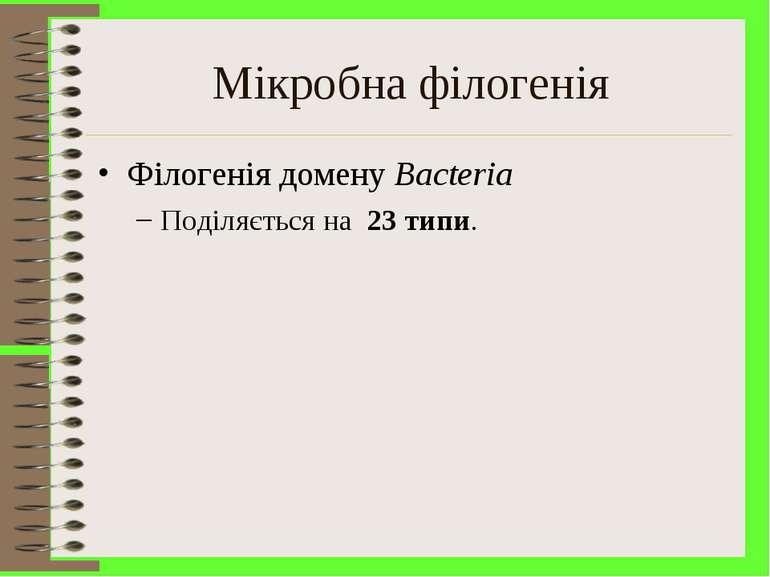 Мікробна філогенія Філогенія домену Bacteria Поділяється на 23 типи.