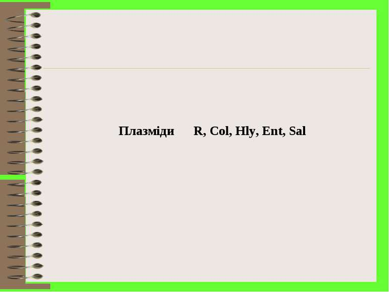 Плазміди R, Col, Hly, Ent, Sal
