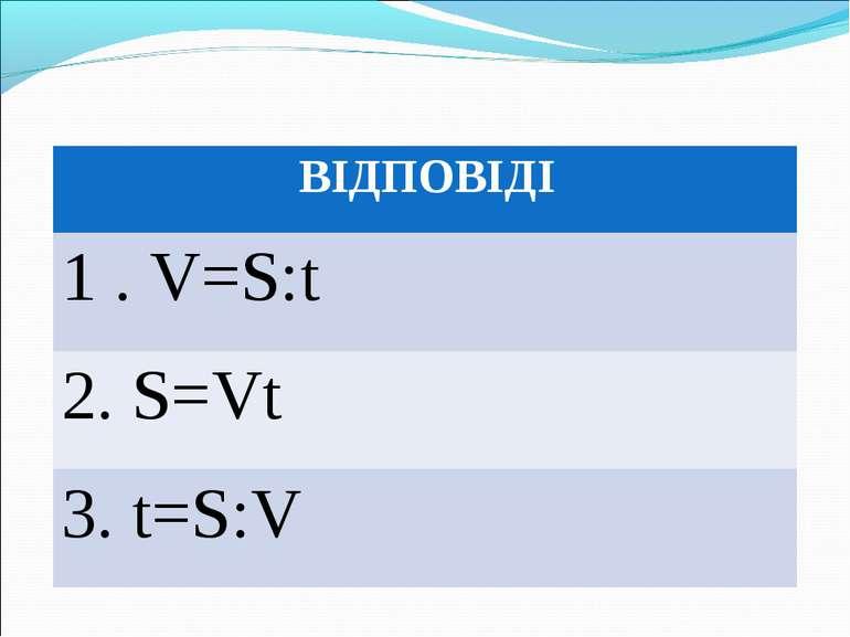 ВІДПОВІДІ 1 . V=S:t 2. S=Vt 3. t=S:V