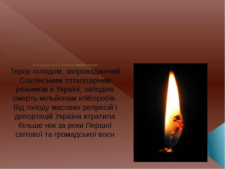 Українською катастрофою XX століття називає сучасна громадська думка Голодомо...
