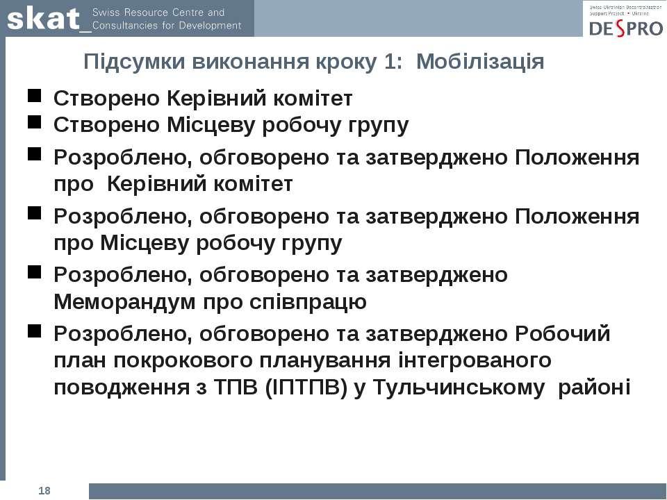 Підсумки виконання кроку 1: Мобілізація Створено Керівний комітет Створено Мі...