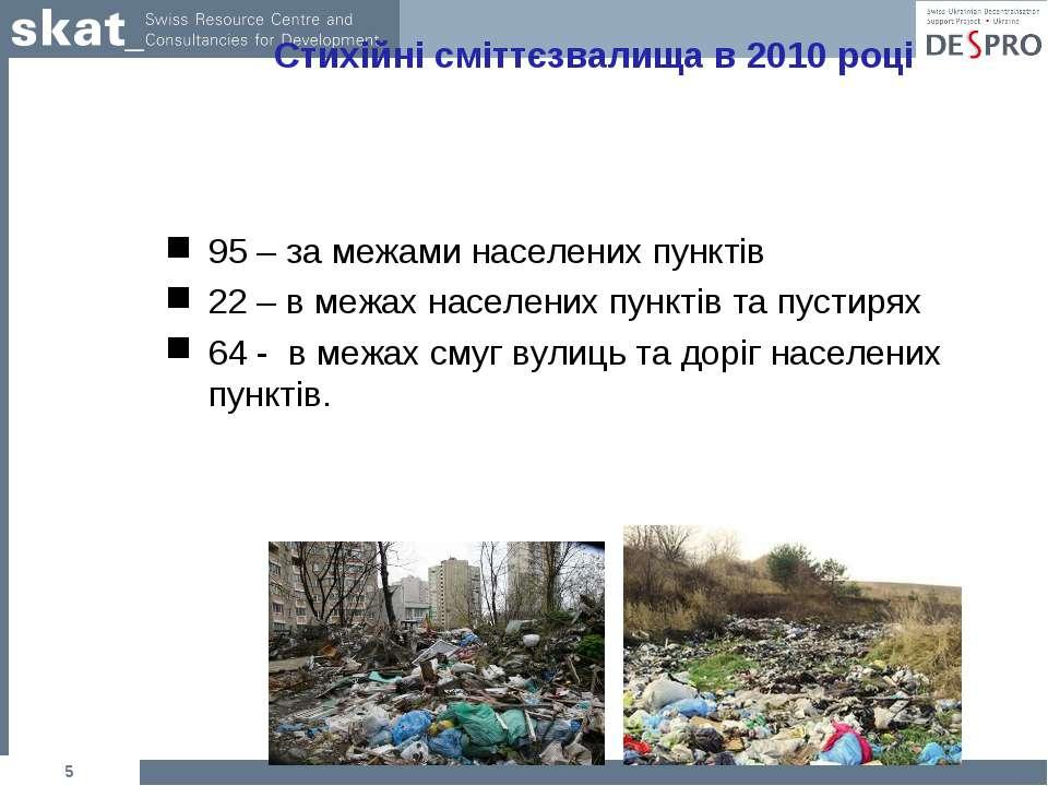 * Стихійні сміттєзвалища в 2010 році 95 – за межами населених пунктів 22 – в ...
