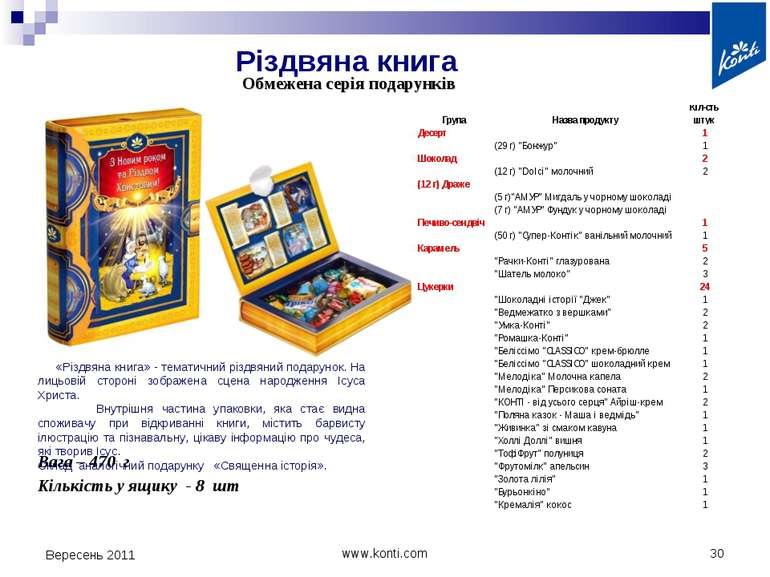 Різдвяна книга Вересень 2011 * www.konti.com Обмежена серія подарунків Кількі...