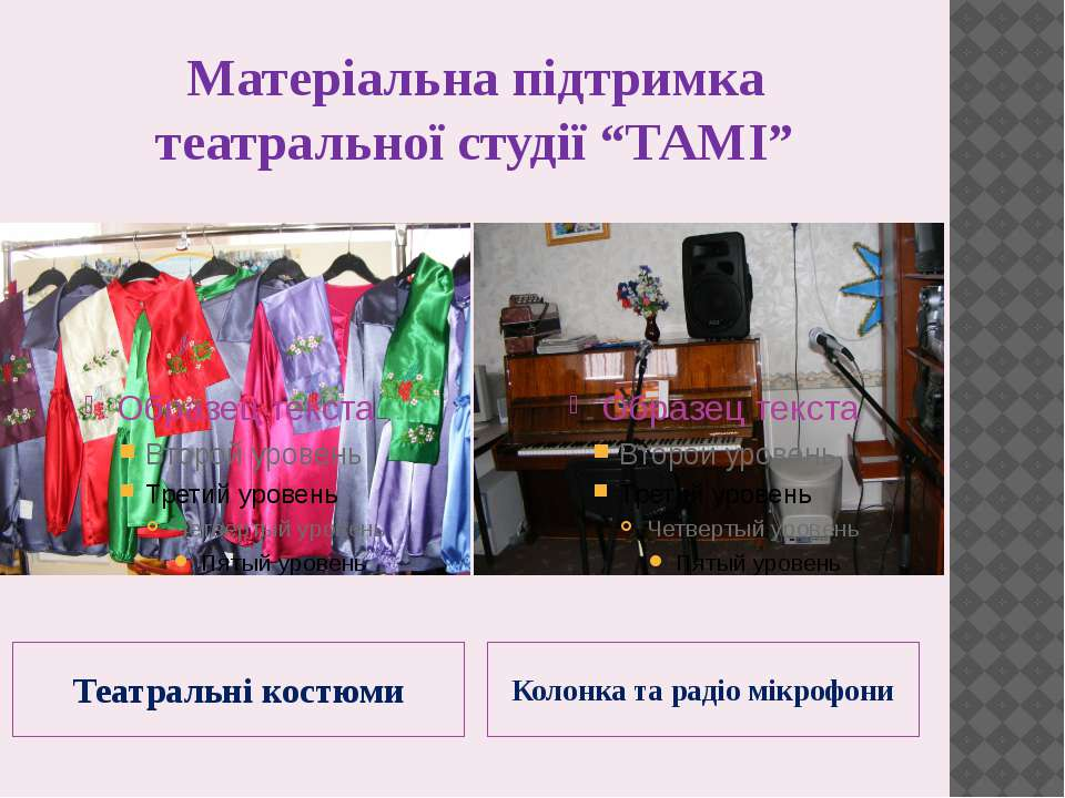 """Матеріальна підтримка театральної студії """"ТАМІ"""" Театральні костюми Колонка та..."""