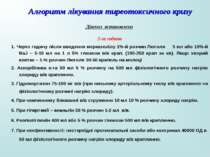 Алгоритм лікування тиреотоксичного кризу Діагноз встановлено 2-га година 1. Ч...