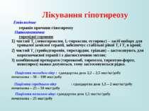 Лікування гіпотиреозу Етіологічне терапія причини гіпотиреозу Патогенетичне т...