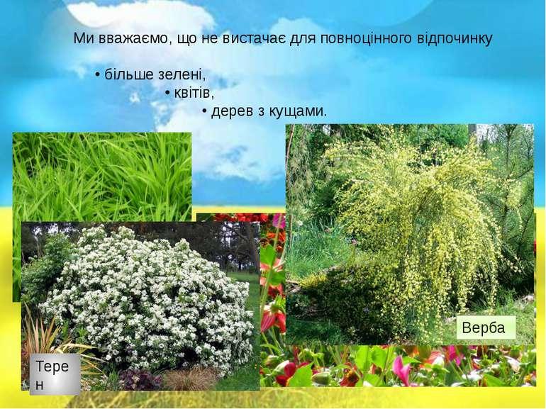 Ми вважаємо, що не вистачає для повноцінного відпочинку • більше зелені, • кв...