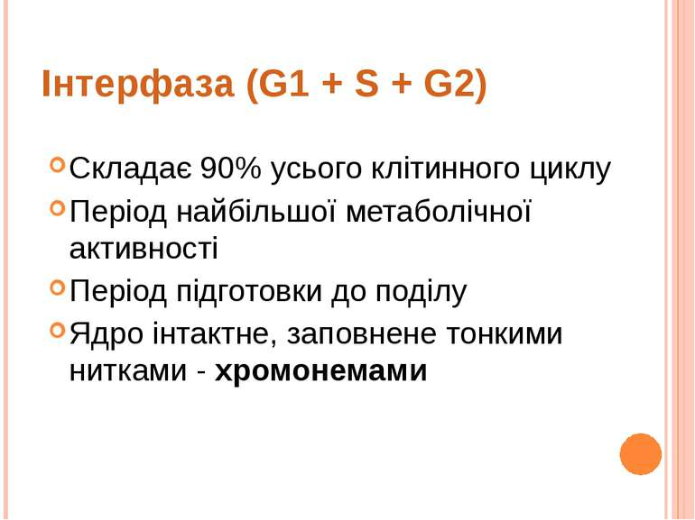 Інтерфаза (G1 + S + G2) Складає 90% усього клітинного циклу Період найбільшої...