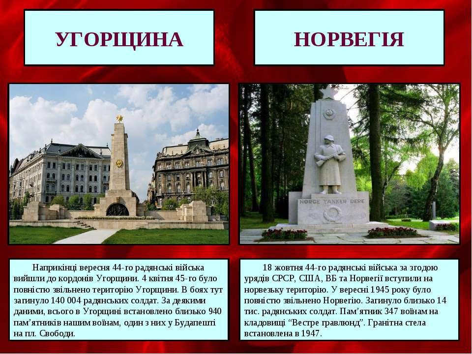 НОРВЕГІЯ УГОРЩИНА Наприкінці вересня 44-го радянські війська вийшли до кордон...