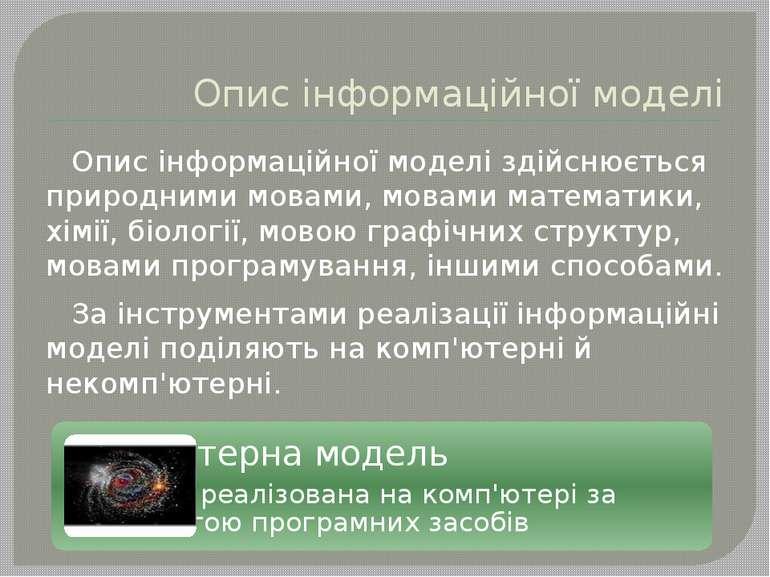 Опис інформаційної моделі Опис інформаційної моделі здійснюється природними м...
