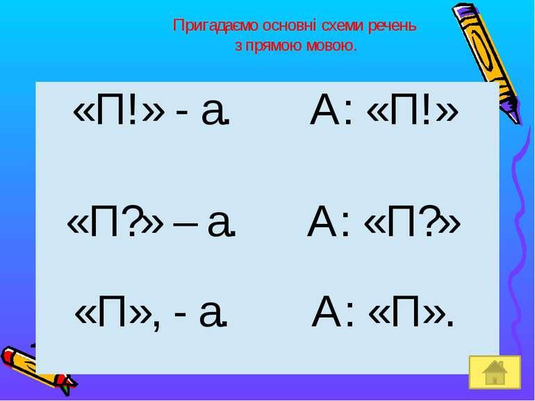 Пригадаємо основні схеми речень з прямою мовою. «П!» - а. А: «П!» «П?» – а. А...