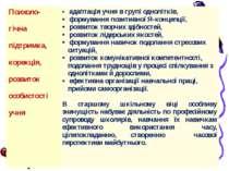 Психоло- гічнапідтримка, корекція,розвиток особистостіучня адаптація учня в г...