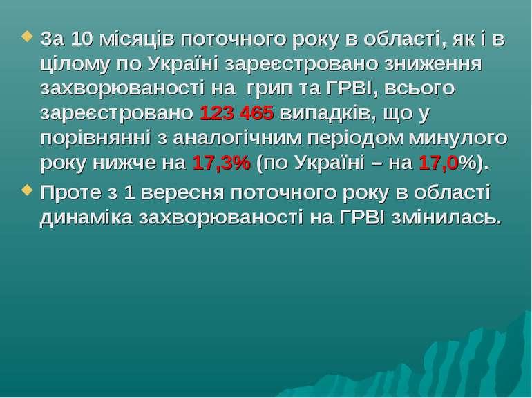За 10 місяців поточного року в області, як і в цілому по Україні зареєстрован...