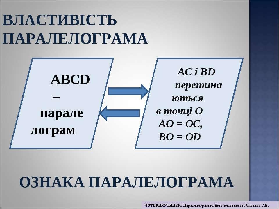 ABCD – парале лограм AC і BD перетина ються в точці О AО = ОC, BО = ОD ВЛАСТИ...