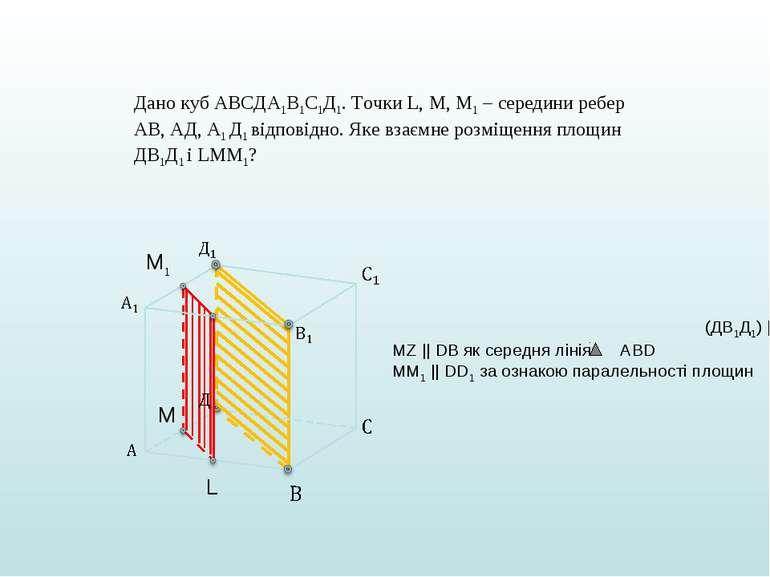 Дано куб АВСДА1В1С1Д1. Точки L, M, M1 – cередини ребер АВ, АД, А1 Д1 відповід...